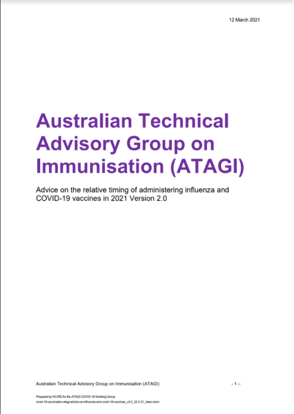 Australian Techinical Advisory Group On Immunisation (ATAGI)